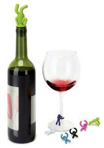 Oh!Wow New Drinking Buddy Weeny Winos Wine Drink Markers Bottle Stopper $20