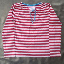 New Girls Mini Boden Bretton top-red/cream stripe- velvet trim100%cotton 5-6yrs