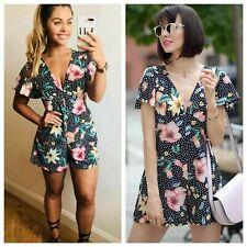 Zara Polka Dot Print Jumpsuit Floral XS Romper Blogger Festival Boho Spring BNWT