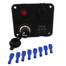 4 in1 Waterproof Car Marine Boat LED Rocker Switch Panel Breaker 2 Usb Socket