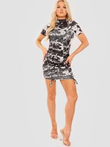 Womens Ladies Short Sleeve Tie-Dye Ribbed High Neck Ruched Mini Dress Party
