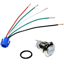 Hqrp 12V Led Lighted Momentary Metal Push Button Air Horn Switch Wire Connector