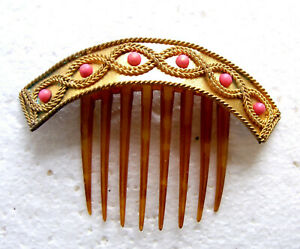 Classic Victorian hinged hair comb coral and polished brass hair ornament