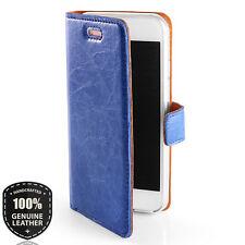 Premium Classic Ledertasche Schutzhülle Wallet Book Flip Case - Toscana Blau