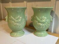 1 Vintage McCoy Flower Vase Urn Bird Holly Berries Sage Green Art Pottery 1940s