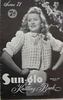 """Sun-glo Vintage Knitting Pattern Book No71- BED WEAR - 32"""" to 36"""" Bust in 2 Ply"""