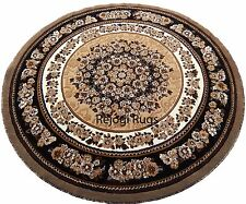 Contemporary Carpet 7x7 Area Rug Round  Berber/Tan Off White Dining Room Floral