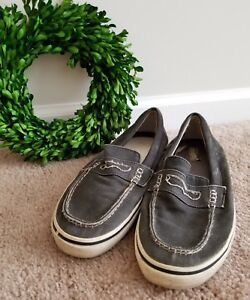SPERRY TOP SIDER Denim Blue Jeans Canvas Penny Loafers Mens Shoes size 8.5 👣ks2