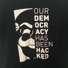 """Mr Robot USA Our Democracy Has Been Hacked Black T-Shirt Med - 39"""" 100% Cotton"""