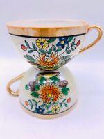 Vintage Japanese Lustreware Luster Hand Painted Floral Tea Coffee Cups Set Of 2