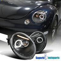 For 1998-2005 VW Beetle Halo Projector Headlights Black Pair Replacement
