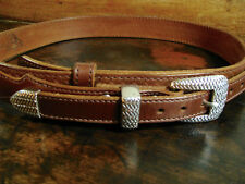 """Thick Brown Basket Weave Bullhide Leather Ranger Belt Fits 34-36"""" Made in USA"""