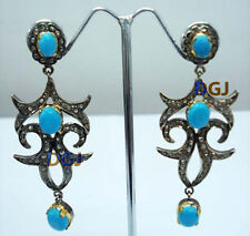 925 Silver Rose Cut Diamond Victorian Style Turquoise Dangle Earrings