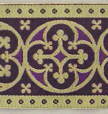 "3½""  Wide Jacquard Chasuble Trim Gold & Purple Vestment Lace Sewing DIY 3 Yards"