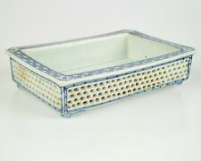 Antique 18thc Chinese blue and white porcelain reticulated jardiniere planter