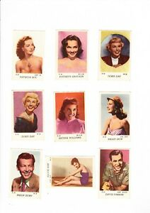9 TRADE CARDS - ACTORS AND ACTRESSES
