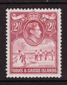 Turks & Caicos Islands King George VI -1938 2 Shillings Mounted Mint SG 203