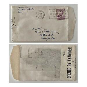 1943 5c WW2 Censored St Johns NFLD to Hollis New York USA