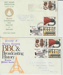 """""""BBC RADIO BRIGHTON"""" OFFICIAL - PAIR 1972 FIRST DAY COVERS"""