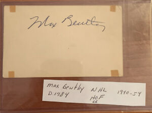 Max Bentley Autograph 3x5 Index Card