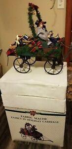 """NIB Vintage Traditions Fabric & Mache RARE Moving """"Family In Holiday Carriage"""""""