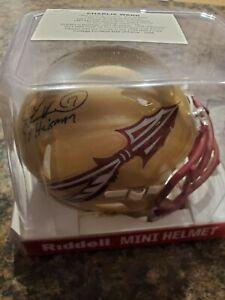 CHARLIE WARD Signed Mini Helmet '93 HEISMAN' Florida State Seminoles Tristar COA