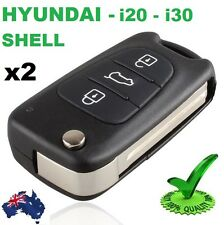 2 x Hyundai i30 i20 Elantra Button Flip Key Replacement Remote Case Shell Blank