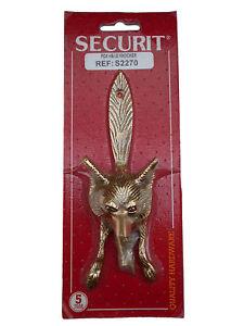 Fox Head & Tail Door Knocker Polished Brass Door Knockers 15cm Includes Screws
