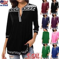 Women's 3/4 Sleeve Boho V-neck Baggy T Shirt Tribal Casual Tops Blouse Plus Size