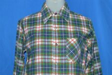 vtg 70s Sears Blue Green Red Plaid Cotton Flannel Square Bottom Shirt Youth M