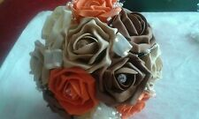 SHOWER BRIDAL BOUQUET PACKAGE *AUTUMN COLOURS* 22 pieces  Burnt orange chocolate