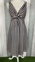 Ted Baker 100% Silk Navy Pink Striped Knot Front A-Line Occasion Dress Size 8