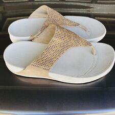 Fitflop 123-478 Women's Thong Flip Flop Beige Color Sandals Size 9