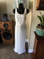 Womens Cream Ivory Lace Top Gauzey Maxi Dress Lined! 	NWT Small