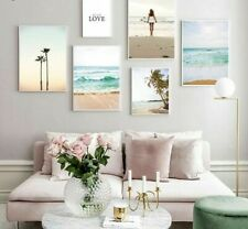 Art Canvas Painting Home Decoration Ocean Beach Poster Palm Tree Summer Tropical