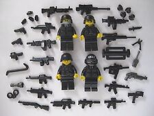 Lego Custom SWAT TEAM 4 Minifigures PLUS BrickArms Weapons Pack- FBI Combat