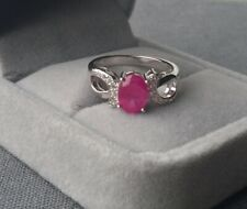 STERLING SILVER RUBY RING SIZE L1/2  SOLID 925 CZ