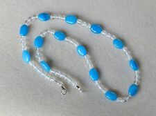 NEW Handmade beaded necklace with teal blue jade and clear crystal quartz N682
