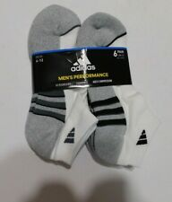 Adidas Mens 6 Pack White Athletic Low Cut  Socks  NEW