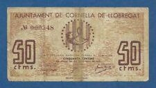 AJUNTAMENT DE CORNELLA DE LLOBREGAT -- 50 CENTIMOS ( 1937 ) -- BC- -- SIN SERIE