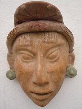 Masque Maya terre cuite sculpté visage style Art Précolombien
