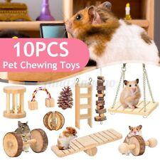 10x Wooden Rabbit Hamster Guinea Pig Bite Hammock Toy Hanging Pet Molar Exercise