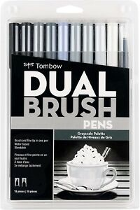 Tombow Dual Brush Pen Art Markers 10-Pack, Grayscale Palette