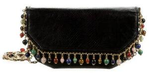 Judith Leiber Karung SnakeSkin Black Gem Charms Day Evening Handbag Vintage