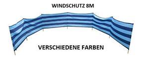 Windschutz Sichtschutz für Strand Garten See Meer 8M Baumwolle