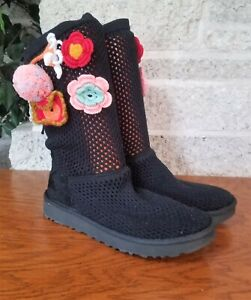 UGG 1095270 WOMENS BLACKCROCHET CLASSIC FLOWER KNIT PULL ON  BOOTS SIZE US 9
