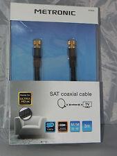 Cavo antenna TV coassiale maschio/maschio connettore tipo F schermato 3 mt  nero