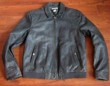 Tiger of Sweden Leather Jacket Mens XL Rocket Distressed Charcoal