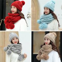 2Pcs Scarf & Hat Set Women Winter Warm Pompoms Knitted Soft Caps And Scarves