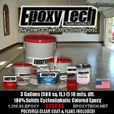 100% SOLID EPOXY FLOOR COATING PAINT KIT 500 SF GARAGE 3 Gal  Flake & Clear Coat